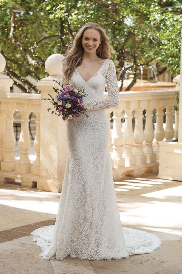 Sincerity style 44078 V-Neck Allover Lace Long Sleeve Gown