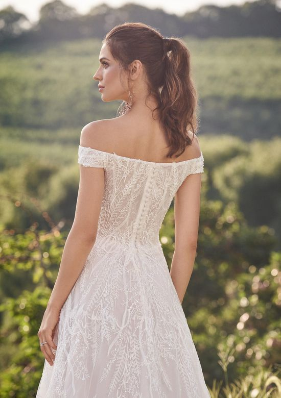 Lillian West Style 66145 Off The Shoulder A-Line Dress with Allover Beaded Lace