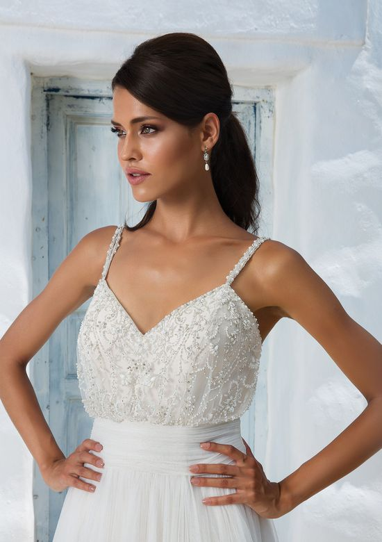 Justin Alexander Beaded Tulle and English Net Gown with Cummerbund and Spaghetti Straps