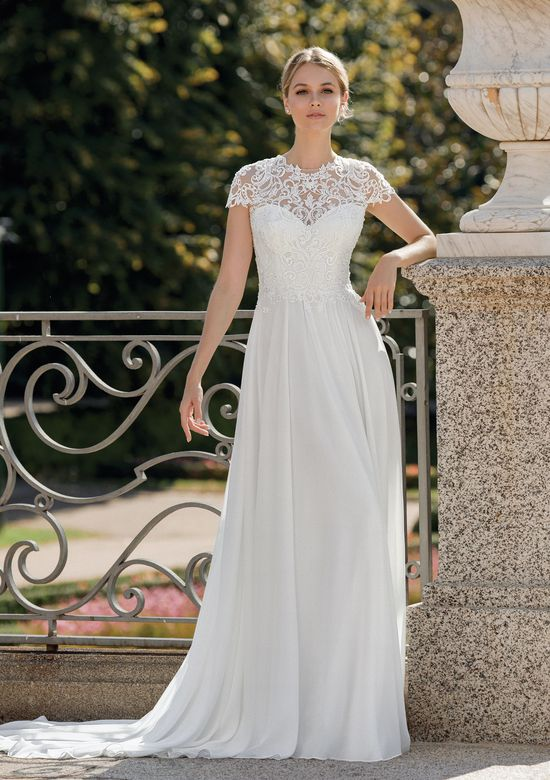 Sincerity Bridal Style 44114 Jewel Neckline with Venice Lace and Chiffon A-Line Skirt