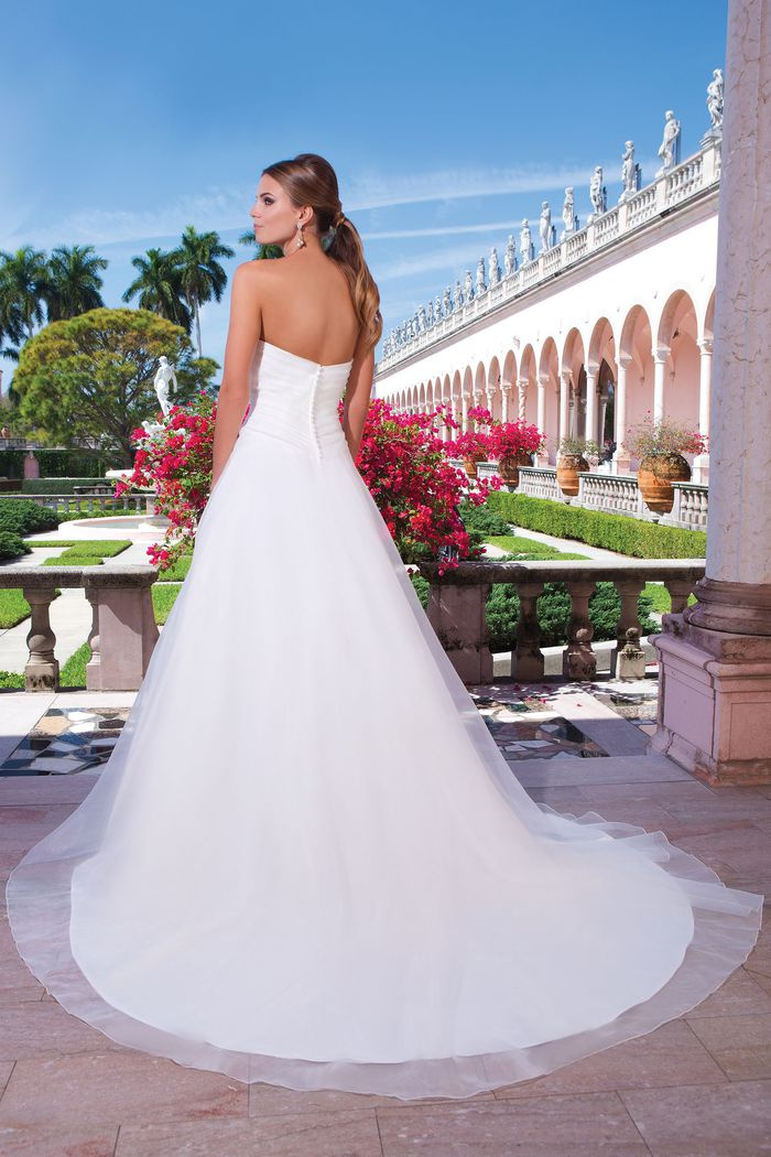 Sweetheart Gowns Style 6042 Organza A-line dress complemented with a sweetheart neckline