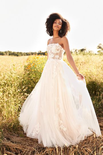 Lillian West Style 66194 Illusion Bodice English Net A-Line Dress with Straight Neckline