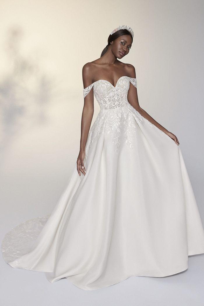 Justin Alexander Signature Style 99209 Moira Hand Beaded Organza Ball Gown with Detachable Straps