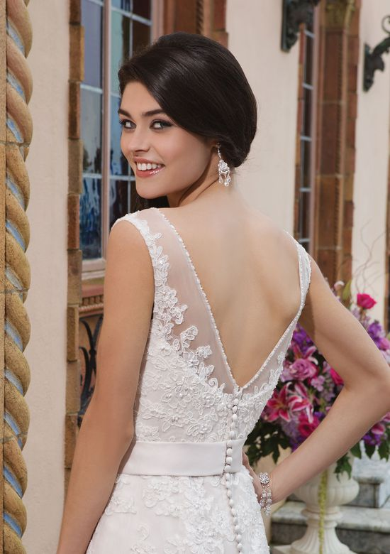 Sincerity Bridal Style 3822 Tulle; alencon lace; beaded lace A-line dress emphasized with a Sabrina neckline