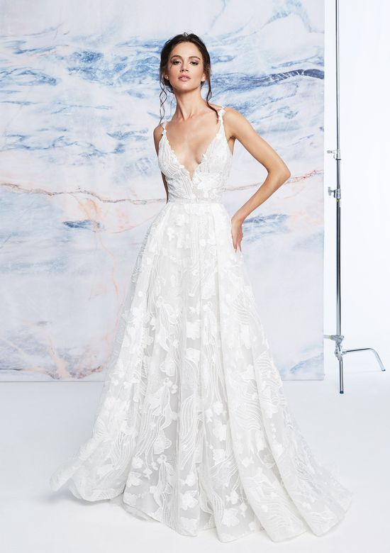 Justin Alexander Signature Style 99069 Illusion Bodice V-Neck Gown with Floral Embroidery
