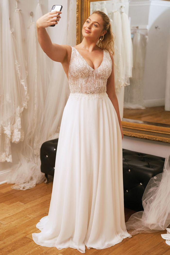 Justin Alexander Style 88003 Sheer Beaded Bodice with Chiffon A-line Skirt