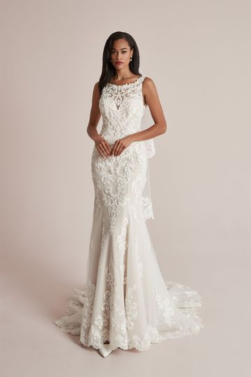 Justin Alexander Style 88218 Cayden Lace Fit and Flare Dress with Sabrina Neckline and Sparkle Tulle