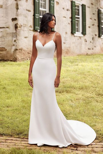 Sincerity Bridal Style 44265 Bikini Neckline Stretch Crepe Fit and Flare Bridal Gown