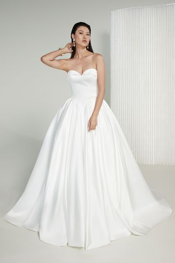 Justin Alexander Signature Style 99227 Joan Strapless Luxe Satin Ball Gown with Basque Waist