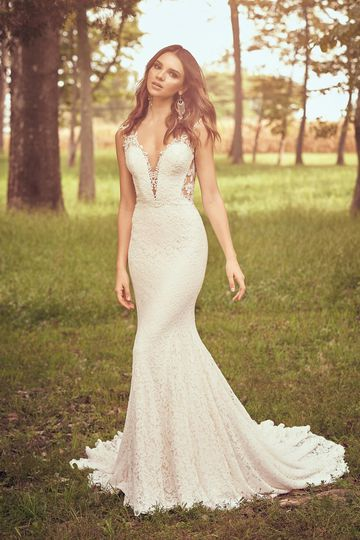 Lillian West Style 66061 Allover Corded Lace Fit and Flare Gown