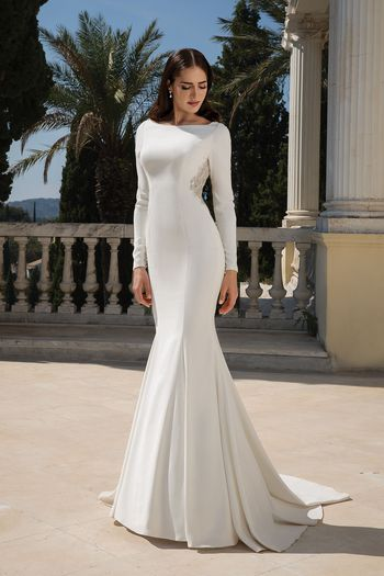 Justin Alexander Style 88076 Crepe Long Sleeve Fit and Flare Gown with Beaded Illusion Keyhole Back