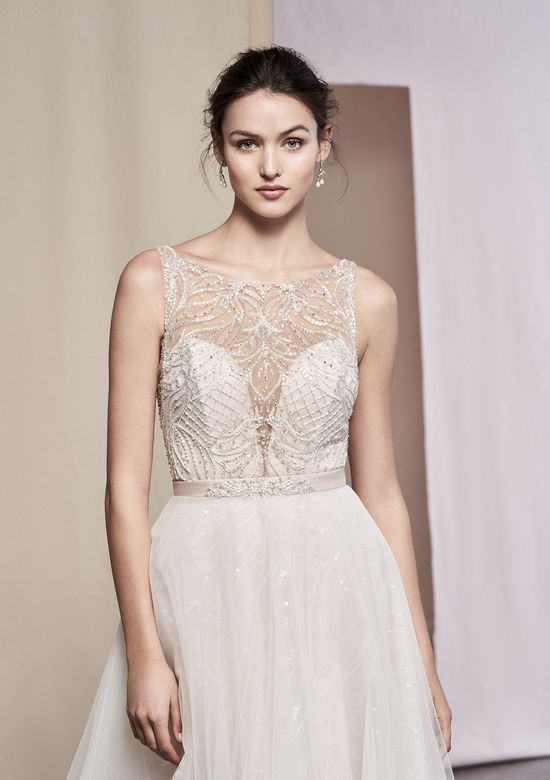 Justin Alexander Signature Style 99086SK Dahlia Beaded Gown with Detachable Sequined Tulle Skirt