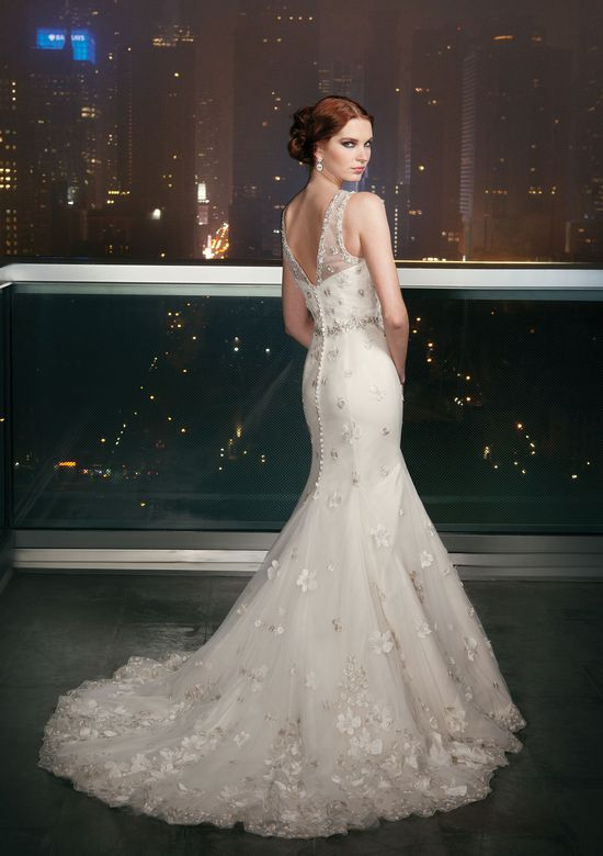 Justin Alexander Signature Style 9703 Tulle mermaid dress complemented with a Sabrina neckline