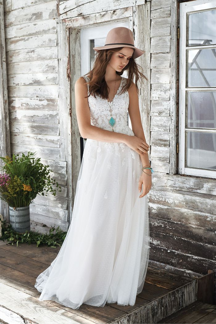 Lillian West style 66042 Allover Lace V-neck Illusion Bodice A-line Gown