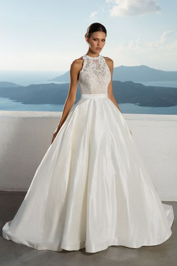 Justin Alexander Style 88001 Silk Dupion Ball Gown with Illusion Jewel Neckline