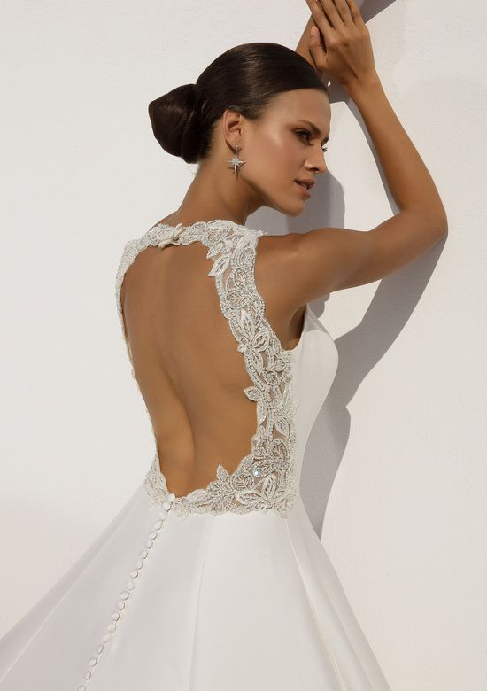 Justin Alexander Style 88021 Mikado Ball Gown with Beaded Cut Out Back