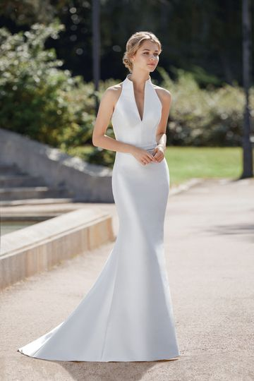 Sincerity style 44112 Mikado Fit and Flare Gown with Notch Neckline