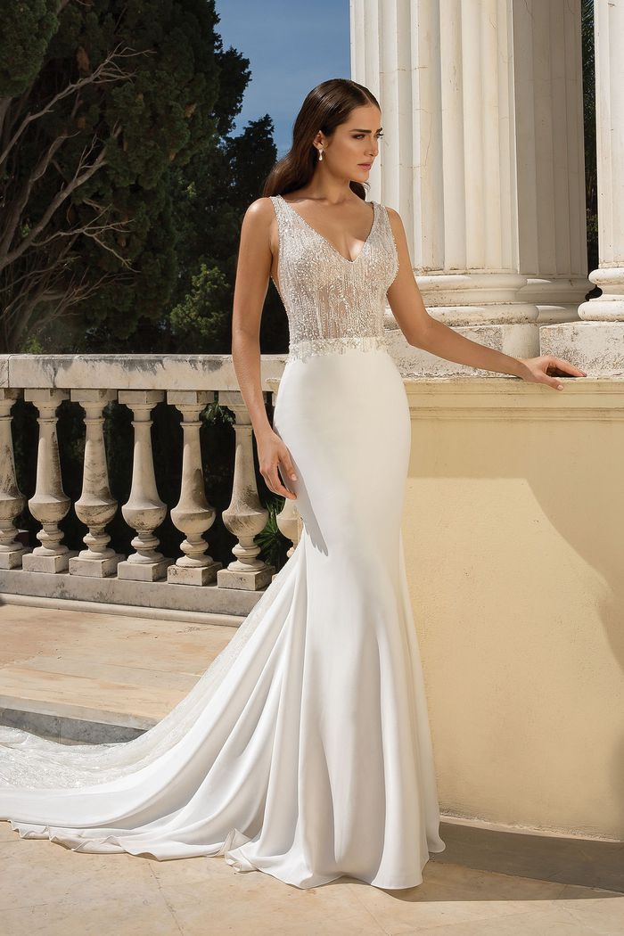 Justin Alexander Style 88090 Crepe Beaded Fit and Flare Gown