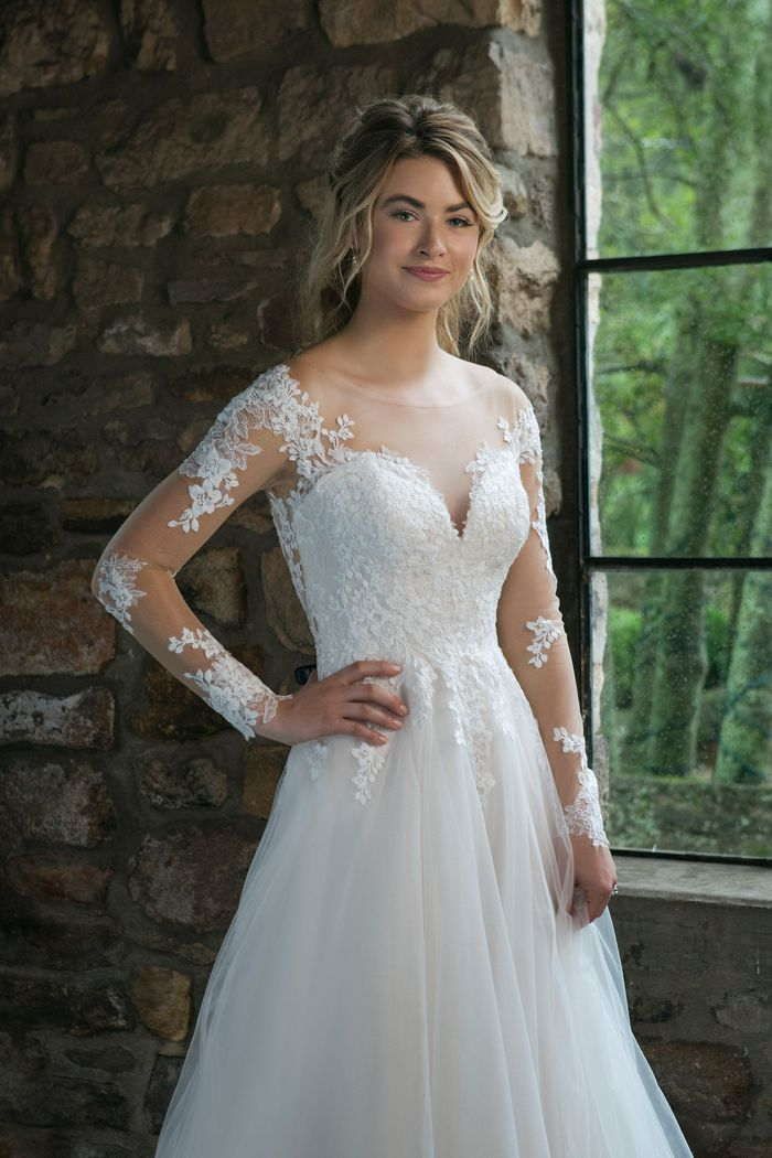 Sincerity Bridal Style 44061 Lace Long Sleeve Illusion A-Line Gown
