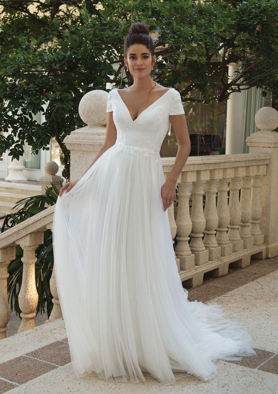 Sincerity Bridal Style 44089 V-Neck Gown with Soft English Net Tulle