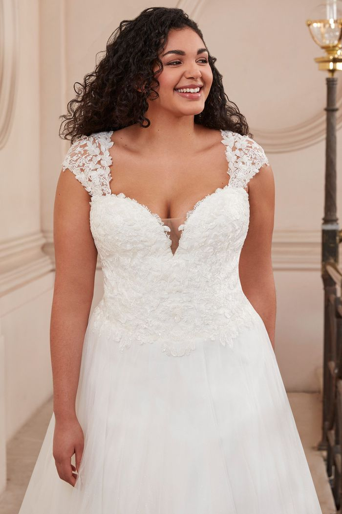 Adore by Justin Alexander Style11147PS Plunging Queen Anne Plus Size Dress with Basque Waist