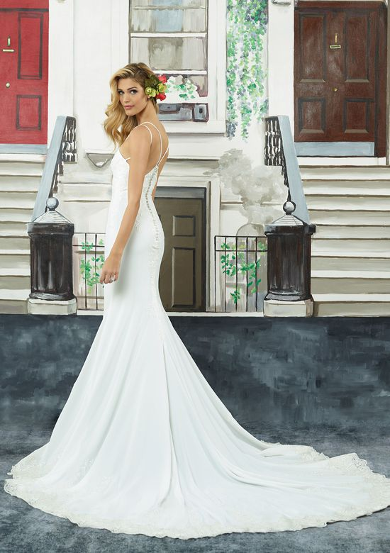 Justin Alexander Style 8941 Embroidered Lace Crepe Fit and Flare Gown with Dual Spaghetti Straps