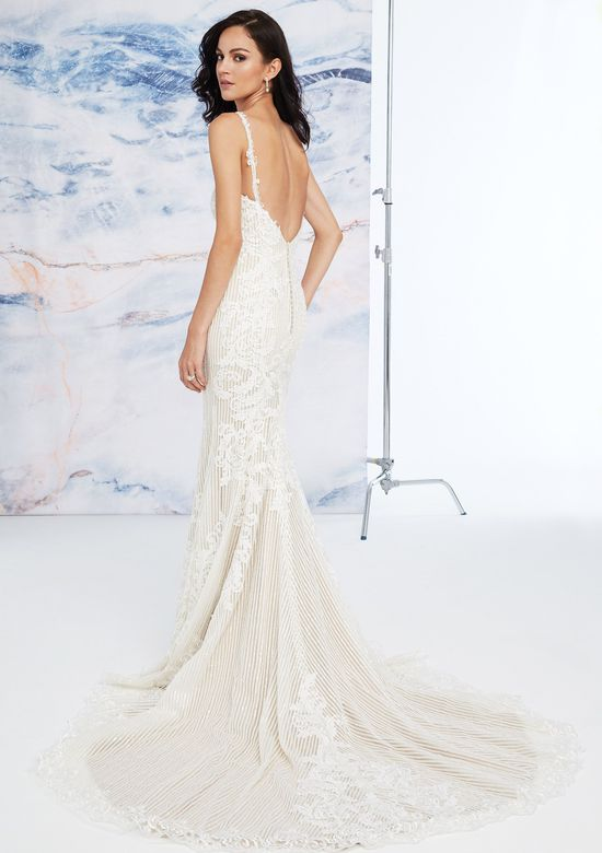 Justin Alexander Signature Style 99073 Fit and Flare Dress with Linear Embroidery