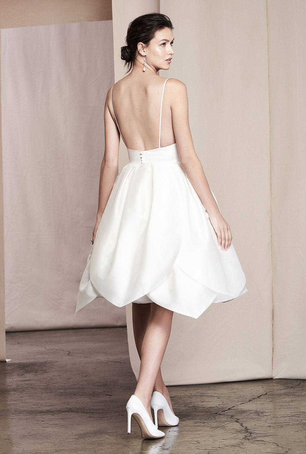 Justin Alexander Signature 	Style 99092 | Petal Skirt Silk Mikado Cocktail Dress