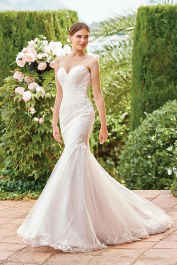 Sincerity Bridal Style 44210 Ruched Gown with Sparkle Tulle and Beaded Spaghetti Straps