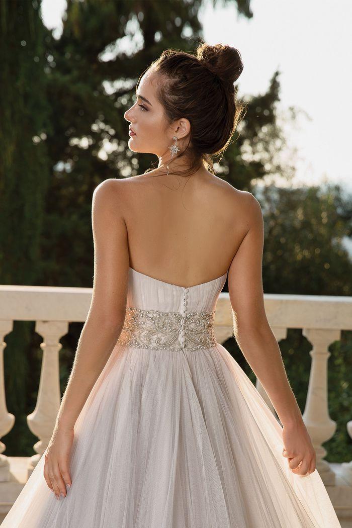 Justin Alexander style 88102D English net ball gown with beaded cummerbund