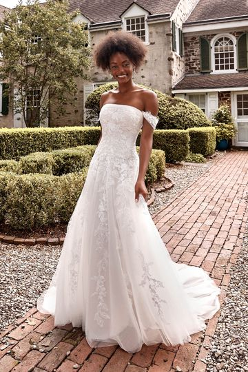 Sincerity Bridal Style 44284 Dropped Waist Tulle Ball Gown with Straight Neckline