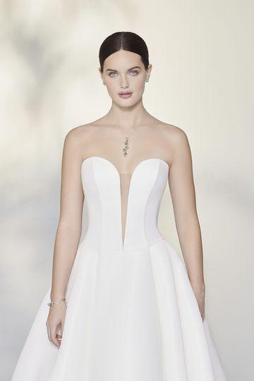 Justin Alexander Signature Style 99197 Zizi Faille Ball Gown with Basque Waist