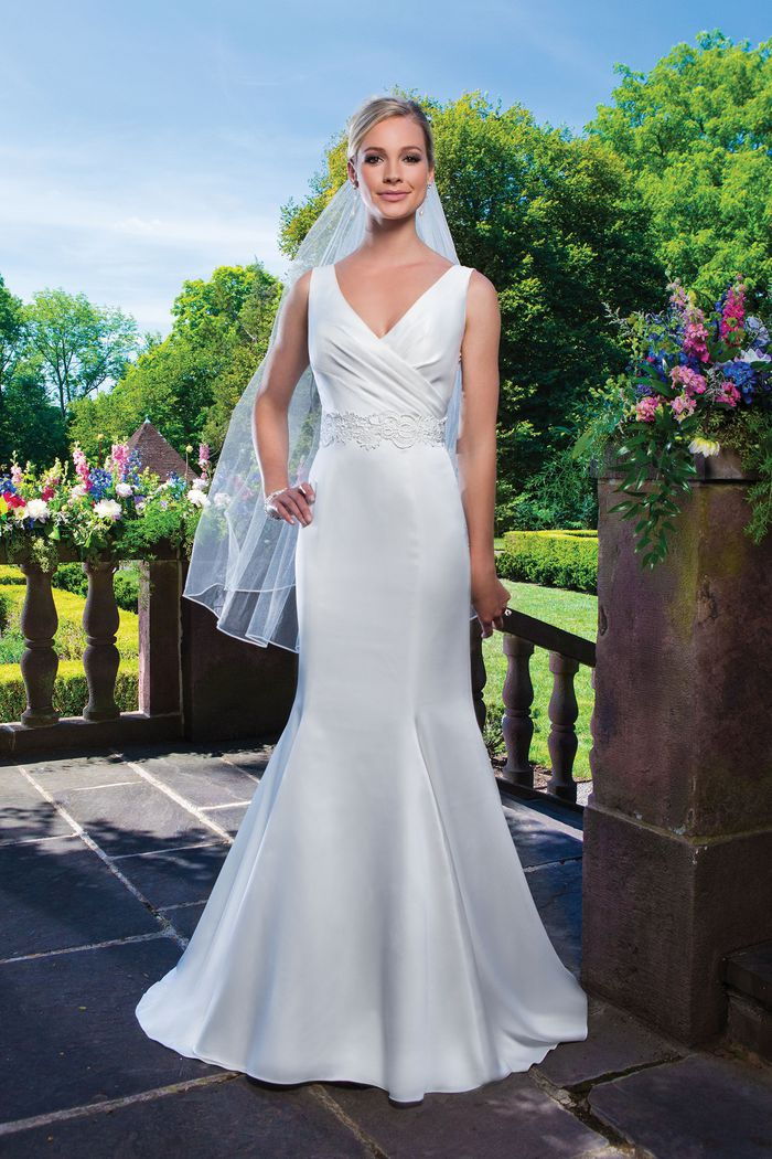 Sincerity Bridal Style 3862 Satin and venice lace fit and flare accentuated with a v-neck neckline.