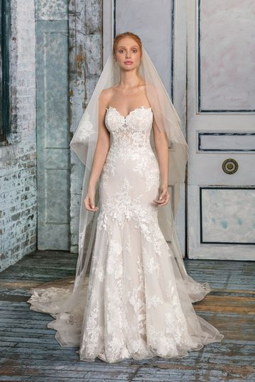 Justin Alexander Signature Style 99007 Strapless Illusion Lace Fit and Flare Gown