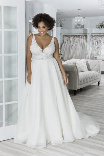 Sincerity Bridal Style 44262PS Plus Size Organza Ball Gown with V-Back