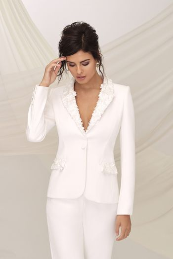 Justin Alexander Signature Style 99116J UPTOWN JACKET Crepe Jacket Accented with Laser Cut 3D Flowers