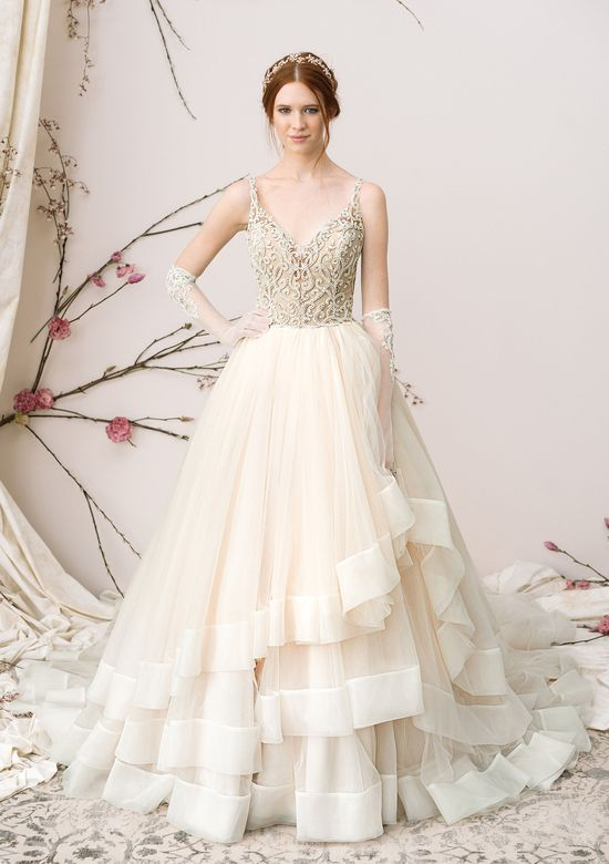 Justin Alexander Signature Layered Tulle Ball Gown with Keyhole Back
