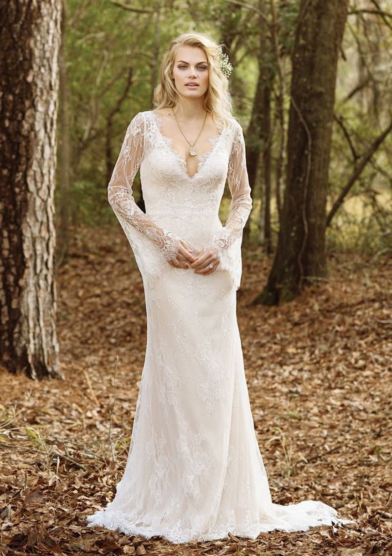 Lillian West Style 6463 V-Neck Allover Lace Gown with Bell Sleeves