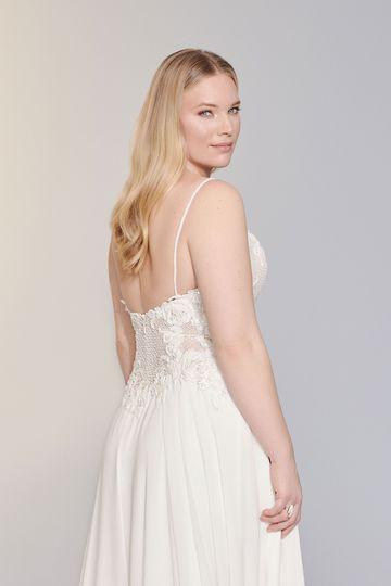 Justin Alexander Signature Style 99146PS Nora Beaded Plus Size Chiffon A-Line Gown with Bikini Neckline