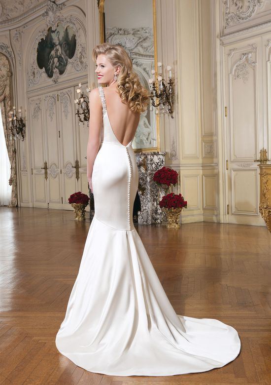 Justin Alexander Style 8756 Luxe charmeuse mermaid dress accentuated by a cowl neckline