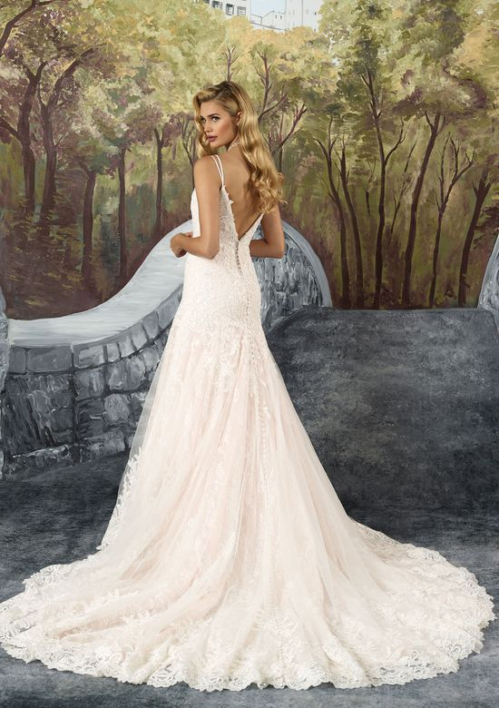 Justin Alexander Allover Chantilly Lace A-Line Gown with V-Neckline