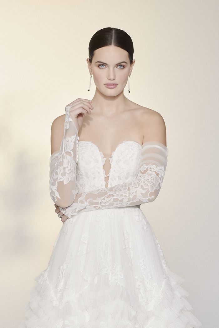 Justin Alexander Signature Style 99201SL Mirella Sleeves Off the Shoulder Long Sleeves with Chantilly Lace Appliqués