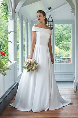 Sweetheart style 11063 Clean Mikado A-line Gown with Cuff Neckline