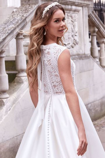 Adore by Justin Alexander Style 11172 Hillary Cotton Lace and Mikado Ball Gown with Sabrina Neckline