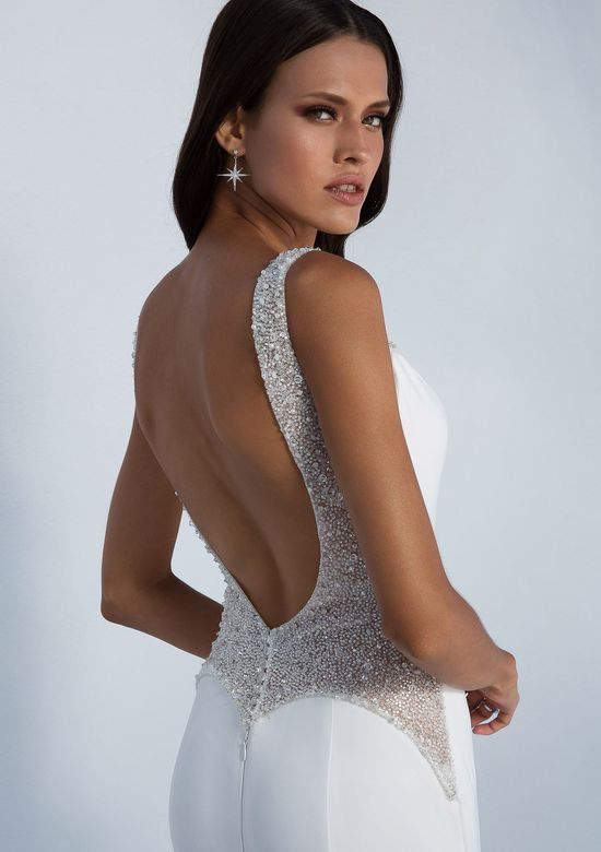 Justin Alexander Style 88022 Fit and Flare Crepe Gown with Beaded Sheer Detail