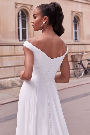 Adore by Justin Alexander Style 11167 Felicity Pleated Off the Shoulder Chiffon A-Line Dress with Slit