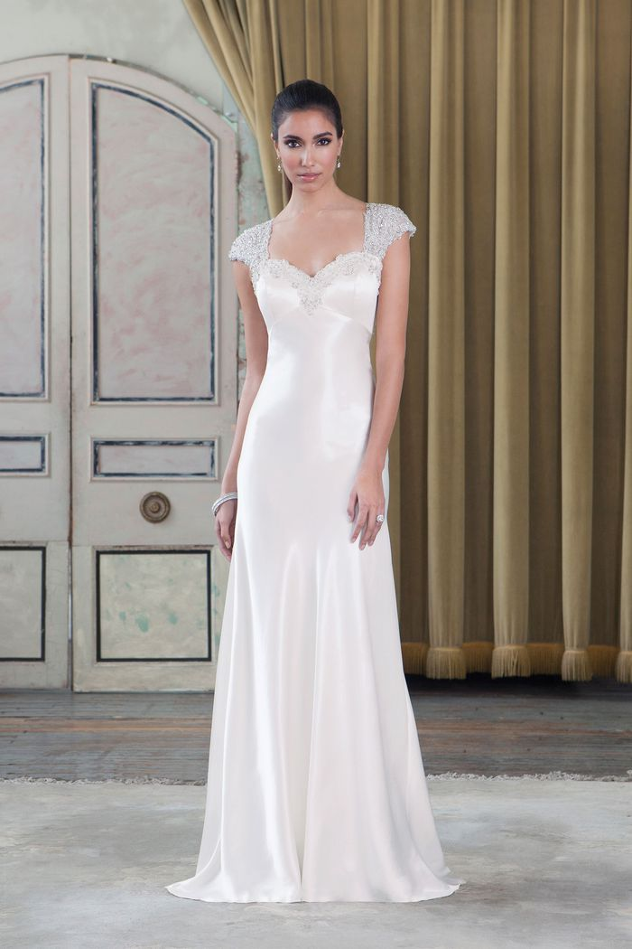 Justin Alexander Signature Style 9791 Luxe Charmeuse Gown with Beaded Cap Sleeves