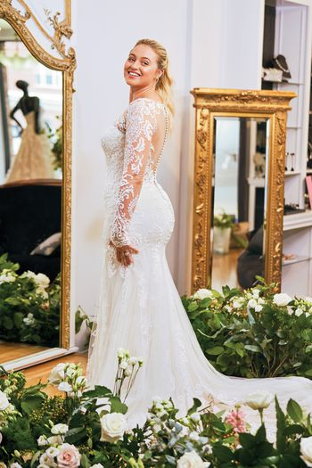 Justin Alexander style 88049 Allover Lace Illusion Long Sleeve Fit and Flare Gown Iskra Lawrence