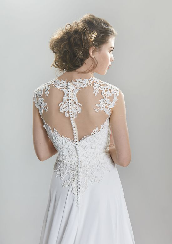 Lillian West Style 6398 Venice Lace and Chiffon A-Line Gown