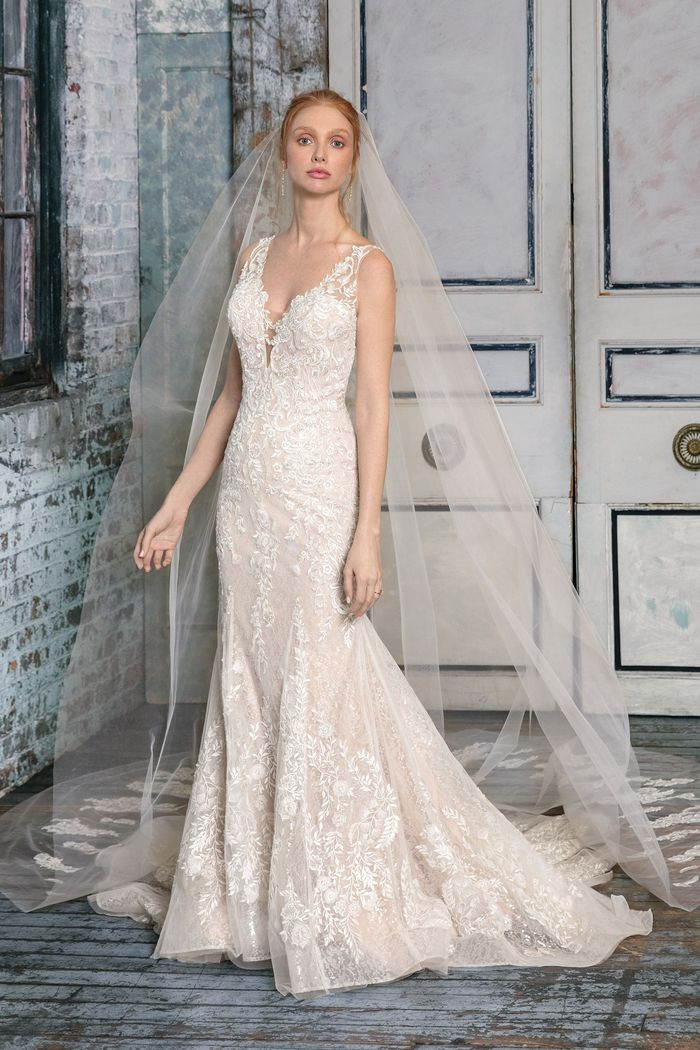 Justin Alexander Signature Style 99006 Embroidered Fit and Flare Gown with Allover Lace